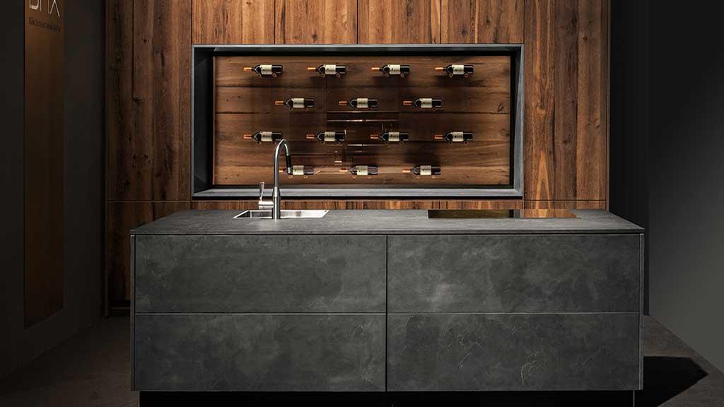 BAX, Küche, modern, Design, Beton, Wein, Nussbaum