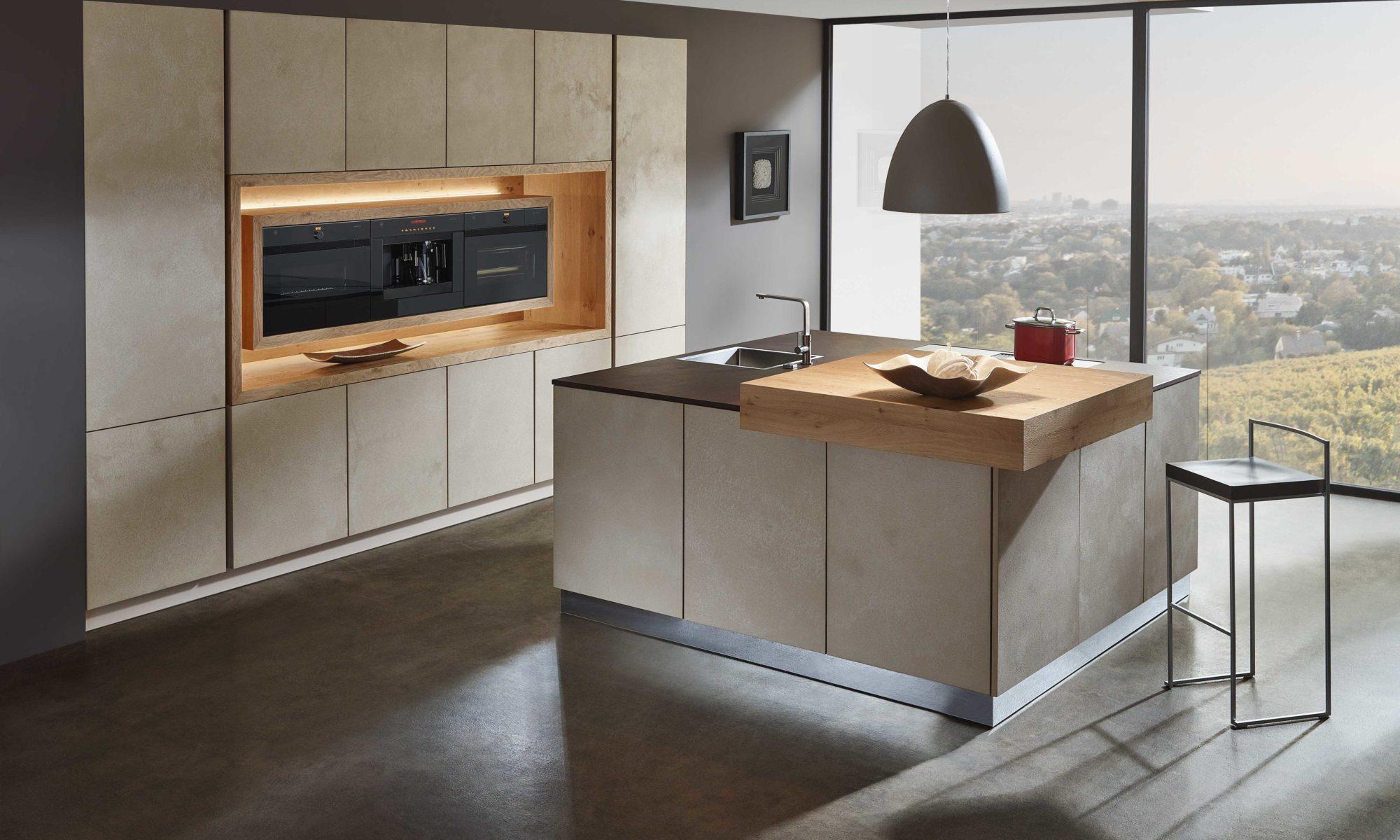 Sachsen Küchen, Tessa, Holz, Design, grau, modern, Glas