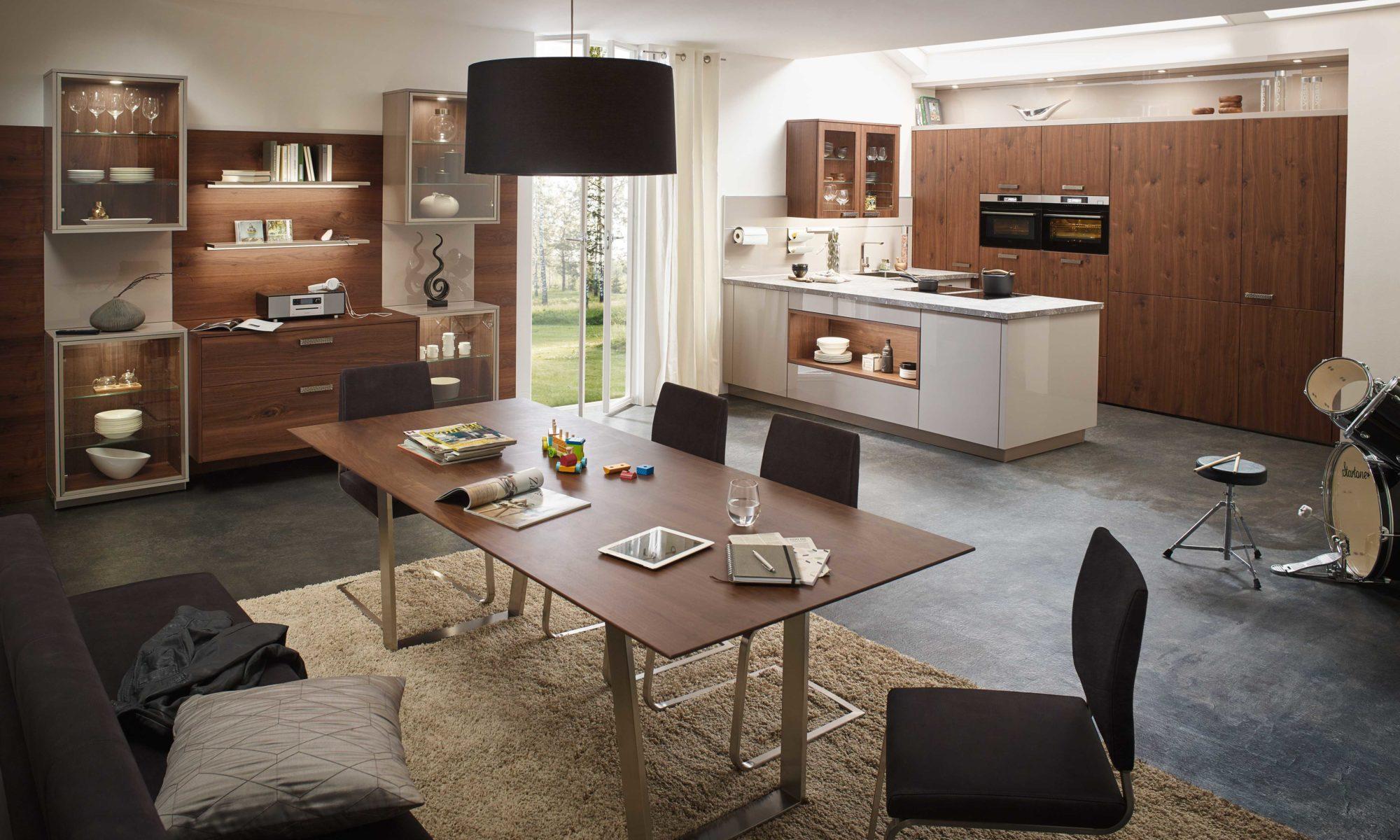 Sachsen Küchen, Fabia, Holz, Granit, weiß, hochglanz, Design, Naturmaterial
