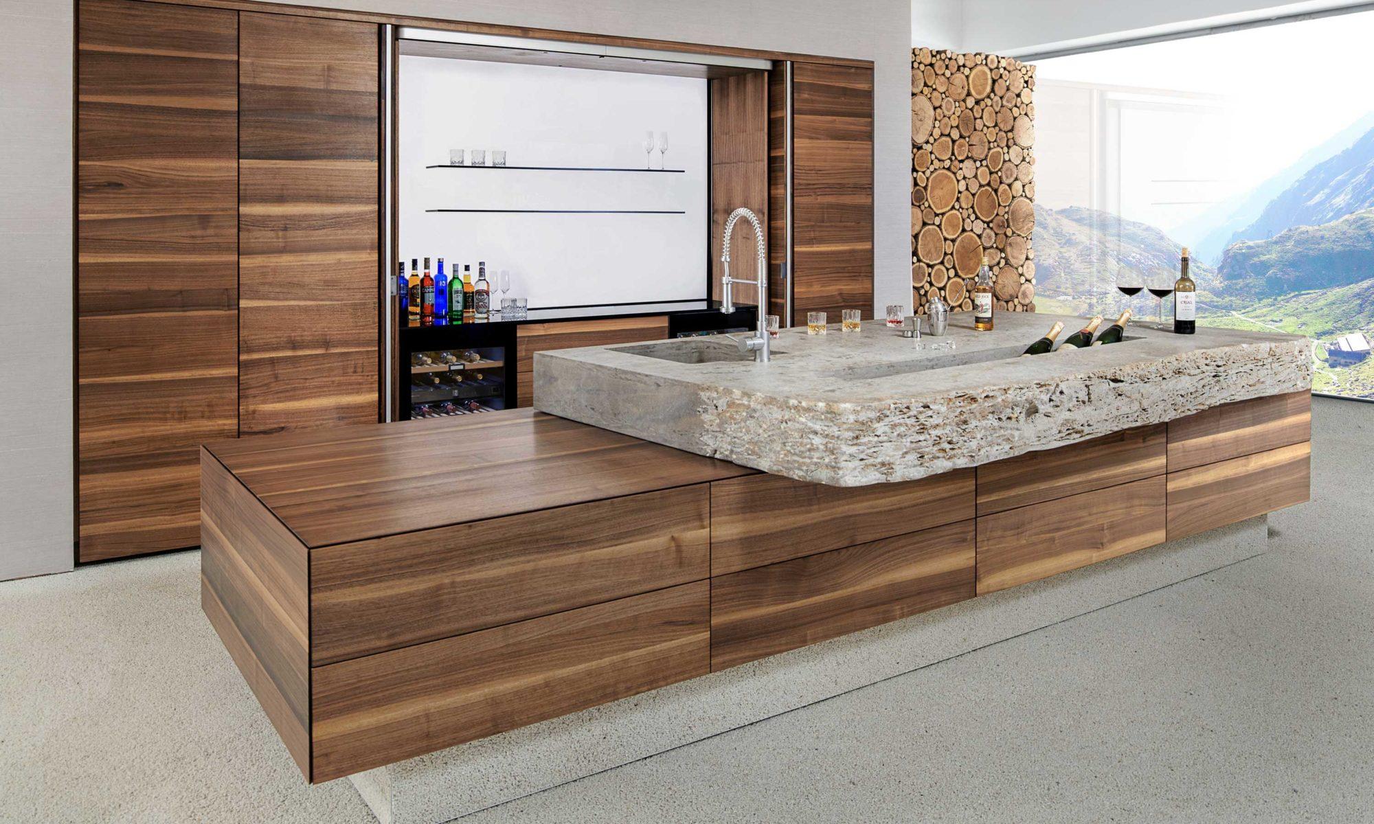 BAX, Küche, modern, Design, Nussbaum, Stein, Naturmaterialien