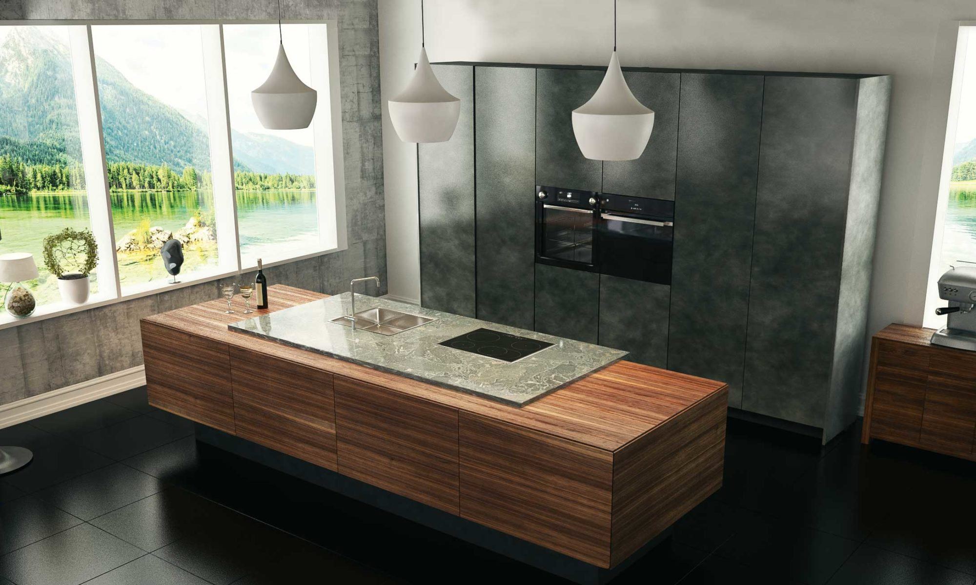 BAX, Küche, modern, Design, Nussbaum, Granit