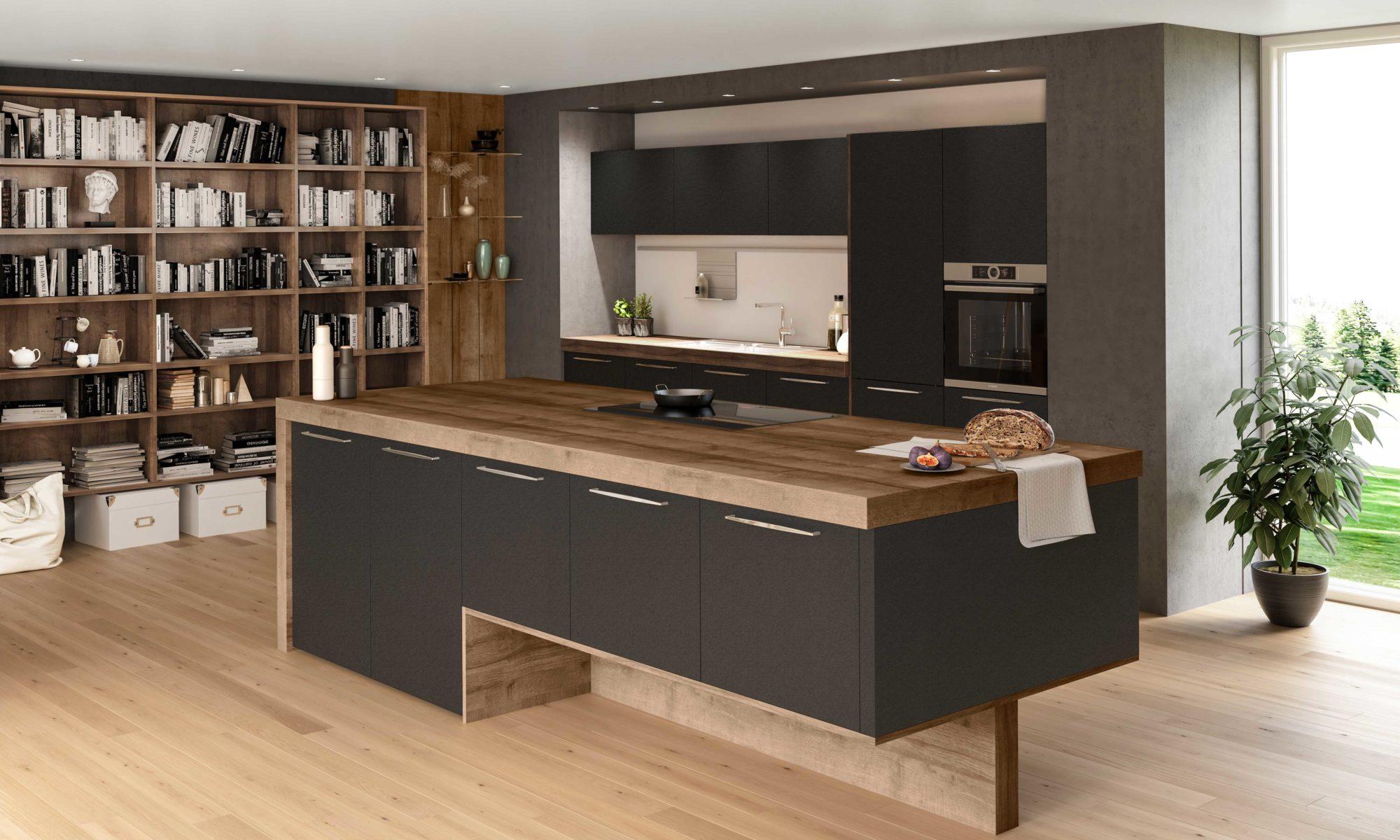 Sachsen Küchen, Oxana, Holz, Arbeitsplatte, Naturmaterial, schwarz