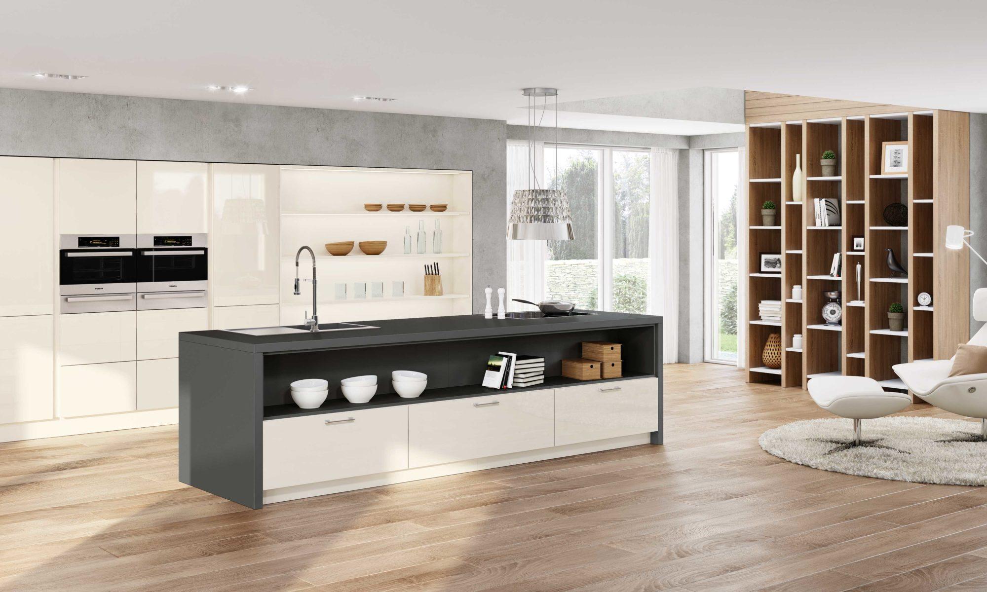 Sachsen Küchen, Tania, Holz, Design, weiß, modern, Glas